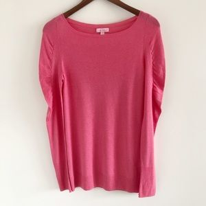 Lilly Pulitzer Marcotte Pink Puff Sleeve Sweater M